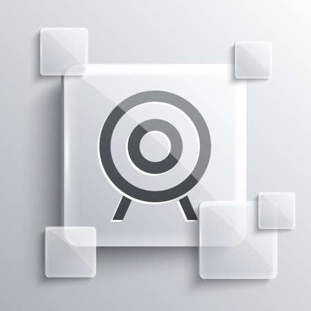 Grey Target sport icon isolated on grey background. Clean target with numbers for shooting range or shooting. Square glass panels. Vector