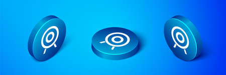 Isometric Target sport icon isolated on blue background. Clean target with numbers for shooting range or shooting. Blue circle button. Vector Ilustração