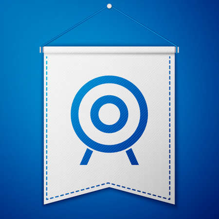 Blue Target sport icon isolated on blue background. Clean target with numbers for shooting range or shooting. White pennant template. Vector