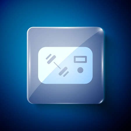 White Fitness club, gym card icon isolated on blue background. Square glass panels. Vector