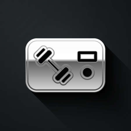 Silver Fitness club, gym card icon isolated on black background. Long shadow style. Vector