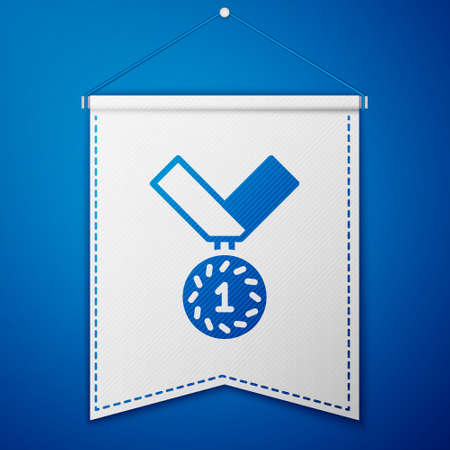 Blue Medal icon isolated on blue background. Winner symbol. White pennant template. Vector Vettoriali