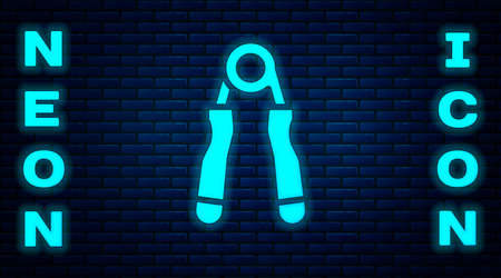 Glowing neon Sport expander icon isolated on brick wall background. Sport equipment. Vector