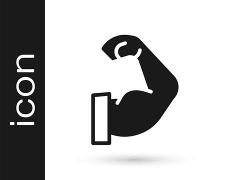 Black Bodybuilder showing his muscles icon isolated on white background. Fit fitness strength health hobby concept. Vector Illustration