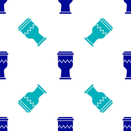 Blue Drum icon isolated seamless pattern on white background. Music sign. Musical instrument symbol. Vector