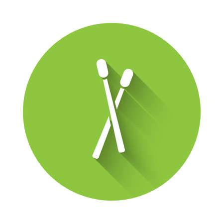White Drum sticks icon isolated with long shadow. Musical instrument. Green circle button. Vector Illusztráció