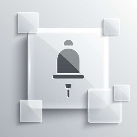 Grey Ringing alarm bell icon isolated on grey background. Fire alarm system. Service bell, handbell sign, notification symbol. Square glass panels. Vector
