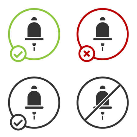 Black Ringing alarm bell icon isolated on white background. Fire alarm system. Service bell, handbell sign, notification symbol. Circle button. Vector  イラスト・ベクター素材