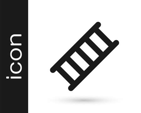 Black Fire escape icon isolated on white background. Pompier ladder. Fireman scaling ladder with a pole. Vector