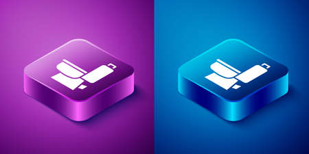 Isometric Toilet bowl icon isolated on blue and purple background. Square button. Vector 向量圖像
