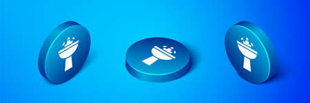 Isometric Washbasin with water tap icon isolated on blue background. Blue circle button. Vector