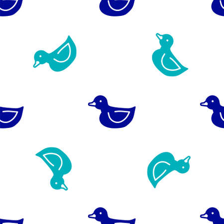 Blue Rubber duck icon isolated seamless pattern on white background. Vector