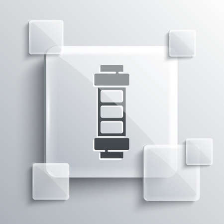 Grey Battery charge level indicator icon isolated on grey background. Square glass panels. Vector
