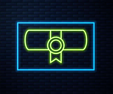 Glowing neon line Decree, paper, parchment, scroll icon icon isolated on brick wall background. Vector