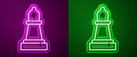 Glowing neon line Chess icon isolated on purple and green background. Business strategy. Game, management, finance. Vector Vettoriali
