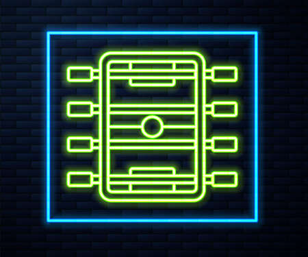 Glowing neon line Hockey table icon isolated on brick wall background. Football table. Vector