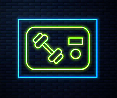 Glowing neon line Fitness club, gym card icon isolated on brick wall background. Vector