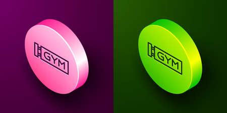 Isometric line Location gym icon isolated on purple and green background. Circle button. Vector Vettoriali