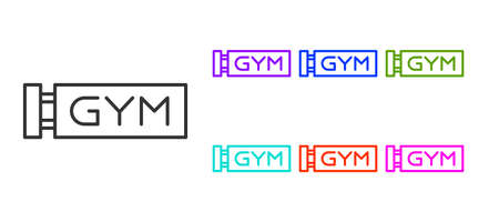 Black line Location gym icon isolated on white background. Set icons colorful. Vector