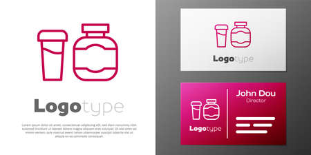 Sports nutrition bodybuilding protein power drink and food icon isolated on white background.   design template element. Vector Vettoriali