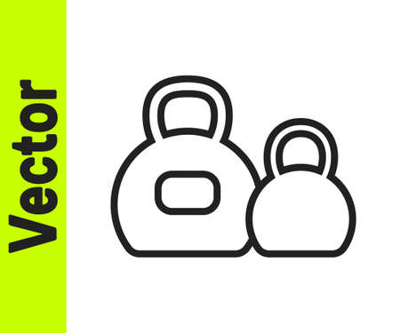 Black line Kettlebell icon isolated on white background. Sport equipment. Vector