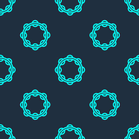 Green line Musical instrument percussion tambourine, with metal plates icon isolated seamless pattern on blue background. Vector Illusztráció