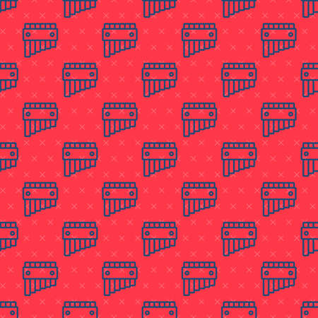 Blue line Pan flute icon isolated seamless pattern on red background. Traditional peruvian musical instrument. Folk instrument from Peru, Bolivia and Mexico. Vector