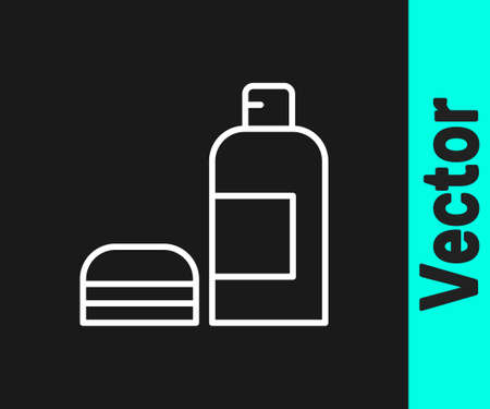 White line Bottle of shampoo icon isolated on black background. Vector Ilustrace