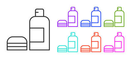 Black line Bottle of shampoo icon isolated on white background. Set icons colorful. Vector Ilustrace