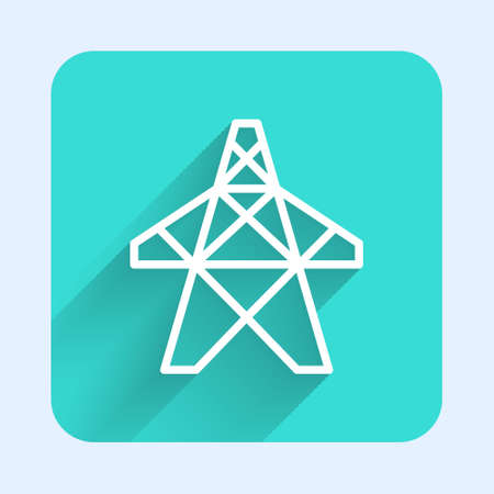 White line Electric tower used to support an overhead power line icon isolated with long shadow. High voltage power pole line. Green square button. Vector