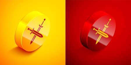 Isometric Crossed medieval sword icon isolated on orange and red background. Medieval weapon. Circle button. Vector