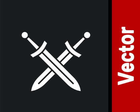 White Crossed medieval sword icon isolated on black background. Medieval weapon. Vector 矢量图像