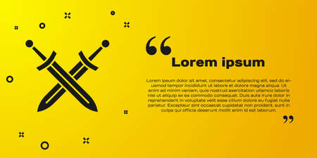 Black Crossed medieval sword icon isolated on yellow background. Medieval weapon. Vector