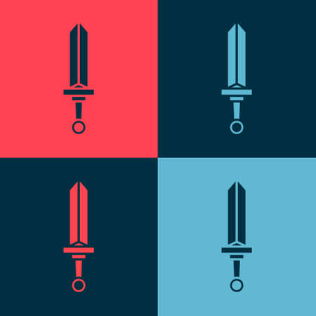 Pop art Medieval sword icon isolated on color background. Medieval weapon. Vector 矢量图像