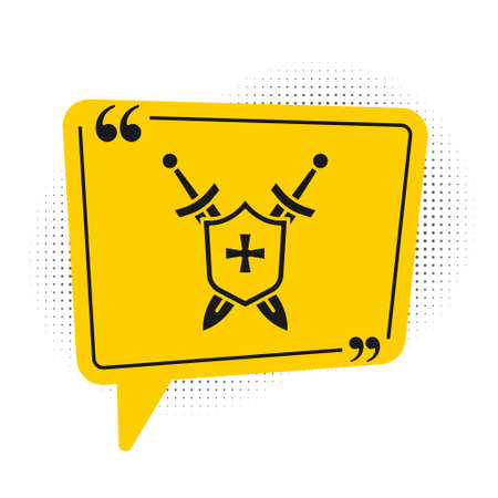 Black Medieval shield with crossed swords icon isolated on white background. Yellow speech bubble symbol. Vector