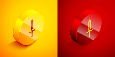 Isometric Medieval sword icon isolated on orange and red background. Medieval weapon. Circle button. Vector