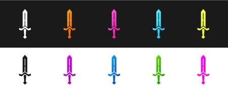 Set Medieval sword icon isolated on black and white background. Medieval weapon. Vector 矢量图像