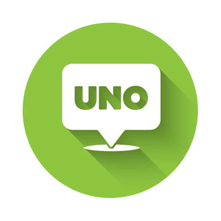 White Uno card game icon isolated with long shadow. Green circle button. Vector