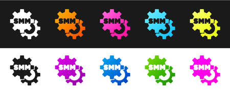 Set SMM icon isolated on black and white background. Social media marketing, analysis, advertising strategy development. Vector