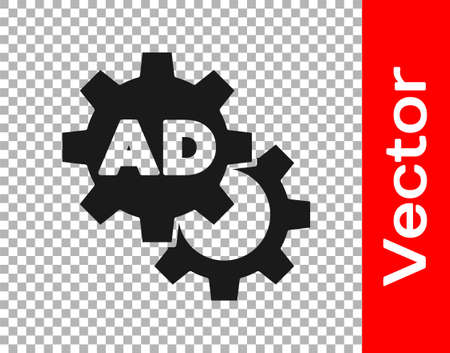 Black Advertising icon isolated on transparent background. Concept of marketing and promotion process. Responsive ads. Social media advertising. Vector