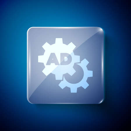 White Advertising icon isolated on blue background. Concept of marketing and promotion process. Responsive ads. Social media advertising. Square glass panels. Vector  イラスト・ベクター素材