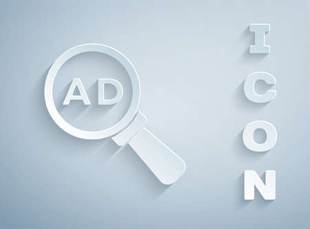 Paper cut Advertising icon isolated on grey background. Concept of marketing and promotion process. Responsive ads. Social media advertising. Paper art style. Vector  イラスト・ベクター素材