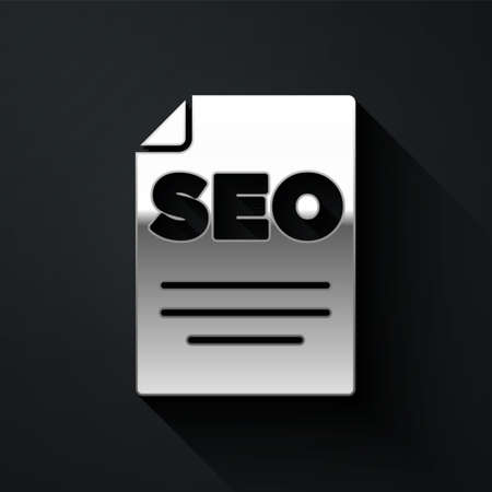 Silver SEO optimization icon isolated on black background. Long shadow style. Vector  イラスト・ベクター素材