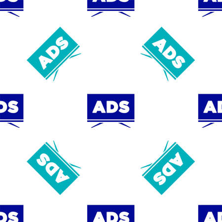 Blue Advertising icon isolated seamless pattern on white background. Concept of marketing and promotion process. Responsive ads. Social media advertising. Vector