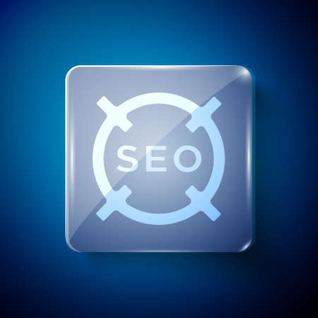 White SEO optimization icon isolated on blue background. Square glass panels. Vector