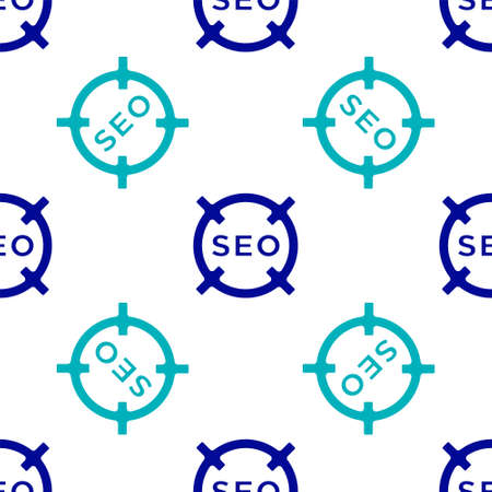 Blue SEO optimization icon isolated seamless pattern on white background. Vector