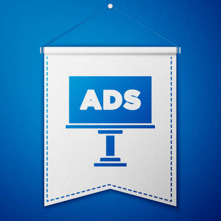 Blue Advertising icon isolated on blue background. Concept of marketing and promotion process. Responsive ads. Social media advertising. White pennant template. Vector