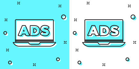 Black line Advertising icon isolated on green and white background. Concept of marketing and promotion process. Responsive ads. Social media advertising. Random dynamic shapes. Vector  イラスト・ベクター素材