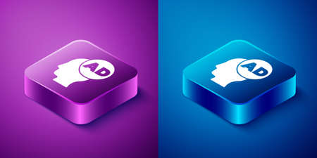 Isometric Advertising icon isolated on blue and purple background. Concept of marketing and promotion process. Responsive ads. Social media advertising. Square button. Vector  イラスト・ベクター素材