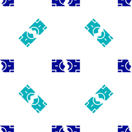 Blue Tearing apart money banknote into two peaces icon isolated seamless pattern on white background. Vector
